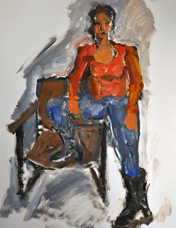 Seated Nude, Blue Skirt  by Victor Mashaal