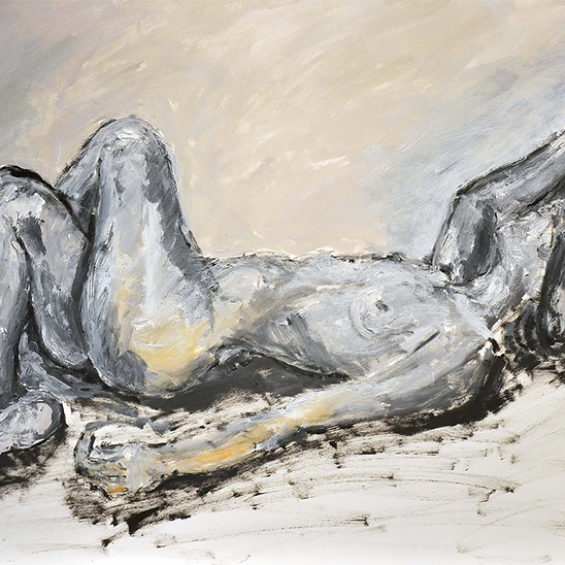 Reclining Nude Crossed Legs by Victor Mashaal